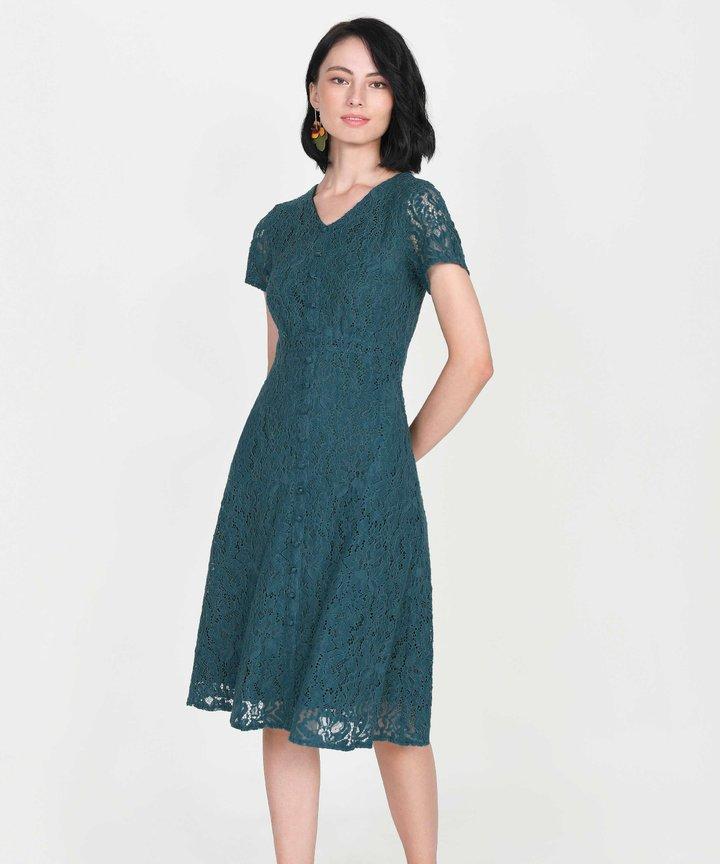 Silverlake Lace Midi Dress - Teal