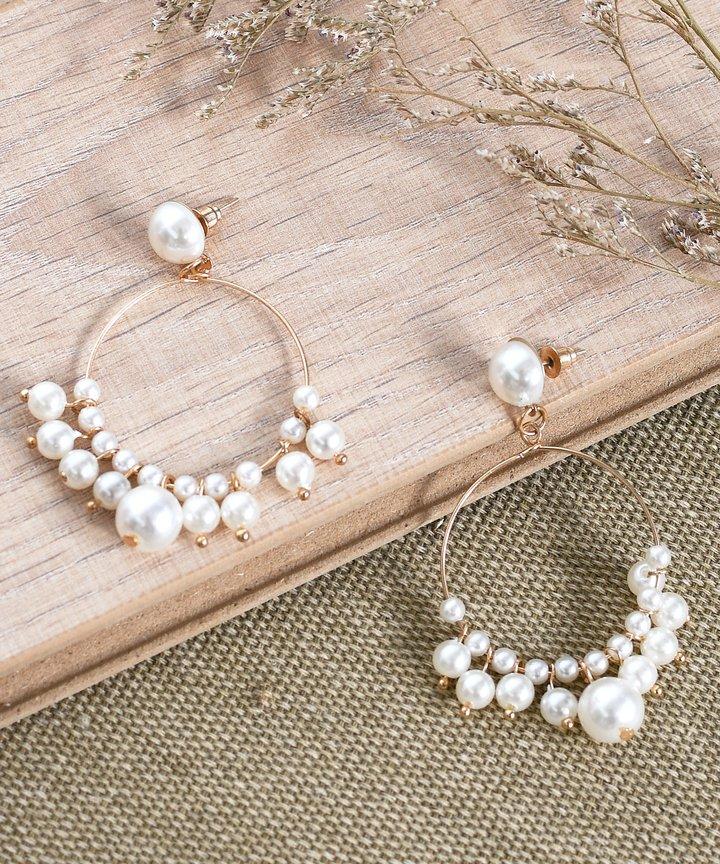 Cosmos Pearl Hoop Earrings