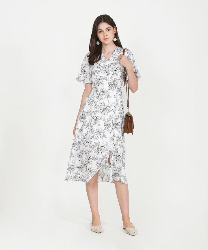 Laurent Floral Overlay Midi - White