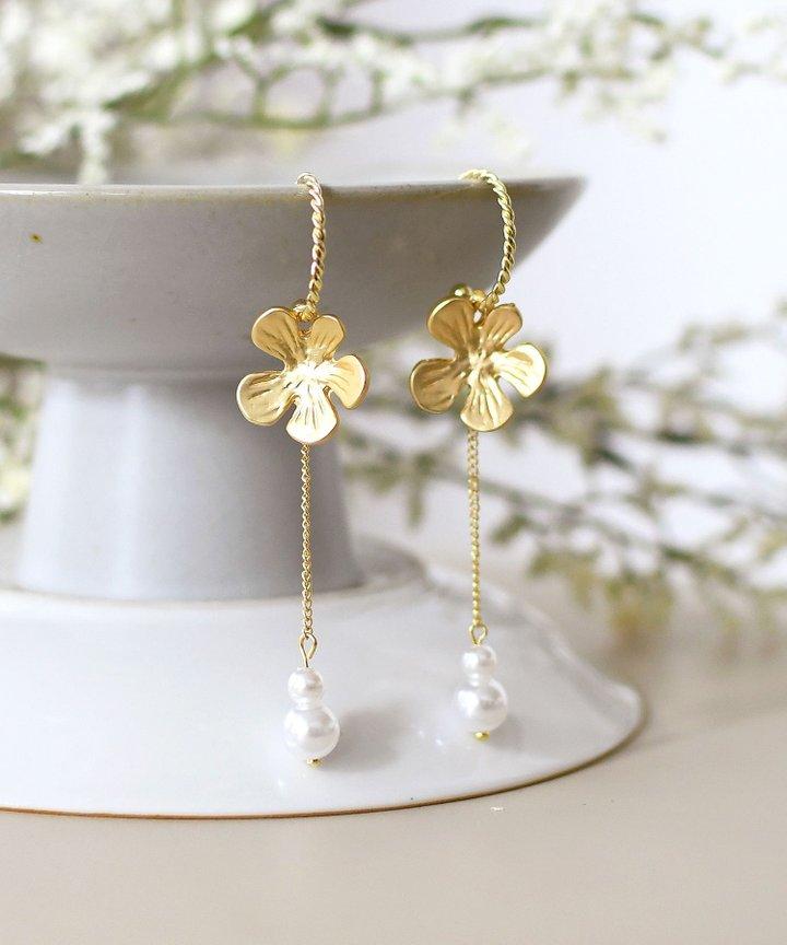 Dahlia Floral Drop Earrings