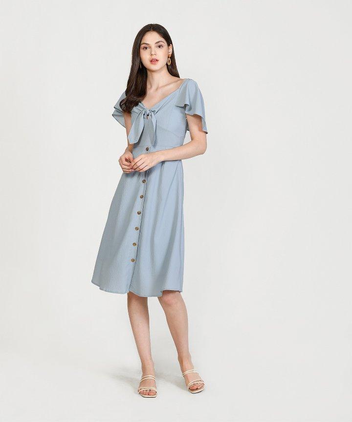 Madeleine Button Down Midi Dress - Mist Blue (Restock)