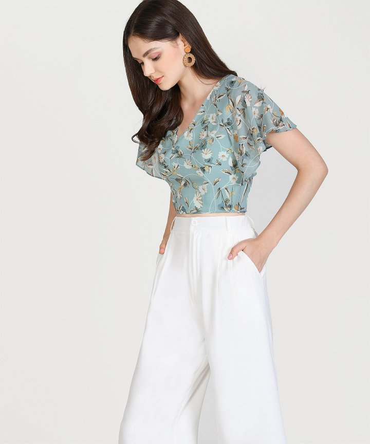 Laurie Floral Cropped Blouse - Pale Turquoise