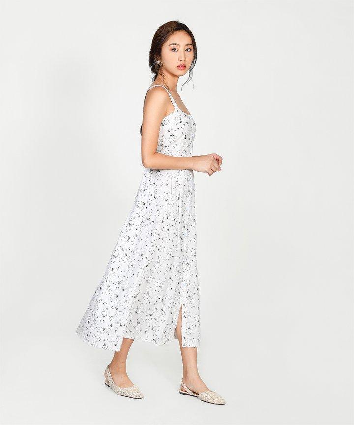 Hanneli Floral Button Down Midi - White