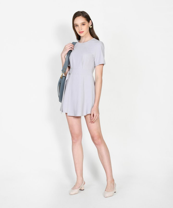Covet Overlay Playsuit - Pale Grey