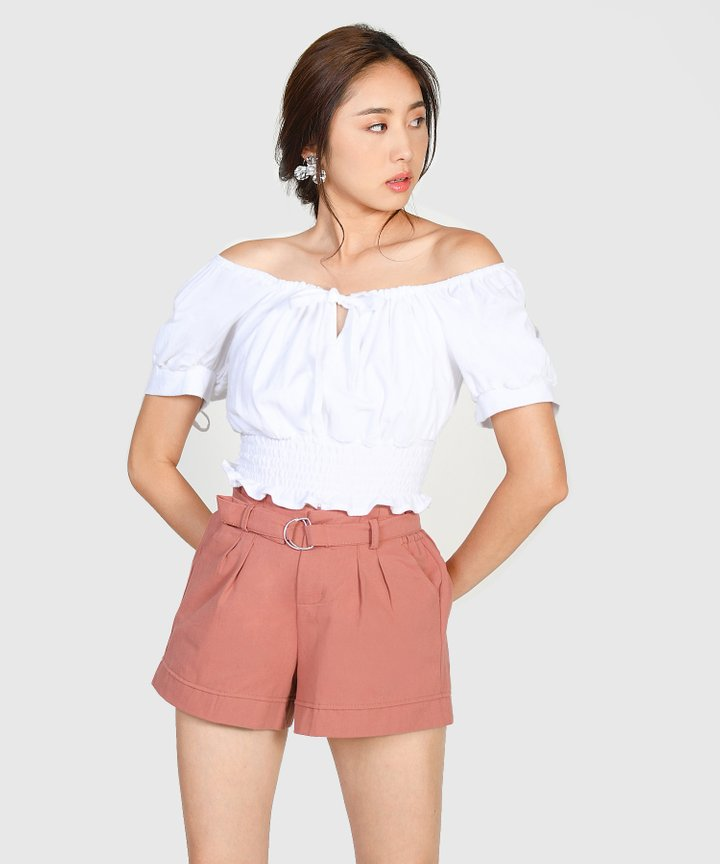 Amherst Belted Shorts - Coral Pink