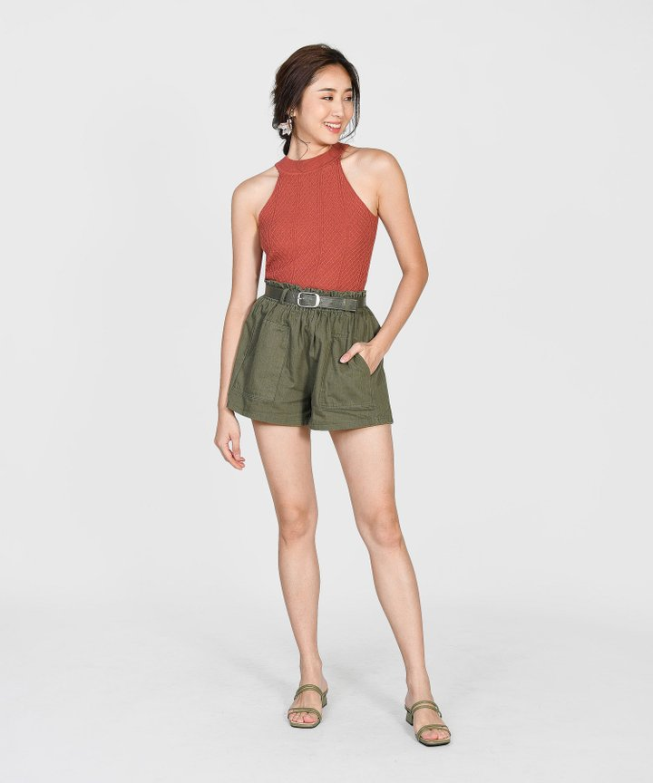 Brandis Belted Shorts - Army Green