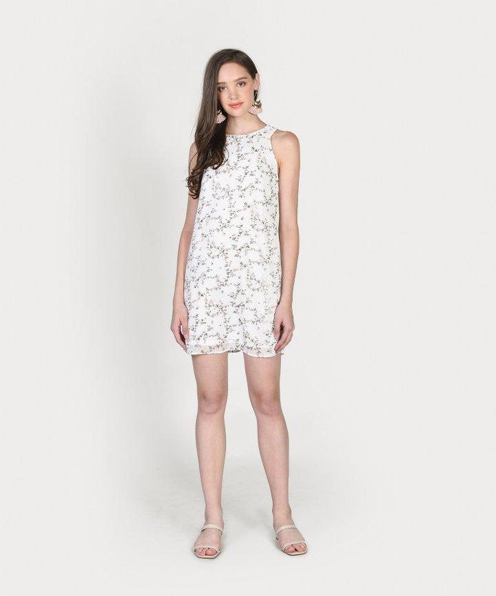 Haylen Floral Textured Shift Dress - White