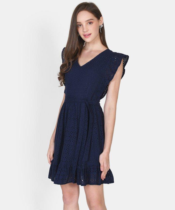 Annika Eyelet Dress - Navy