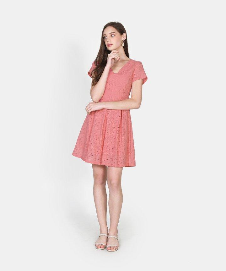 Carousel Eyelet Dress - Candy Pink
