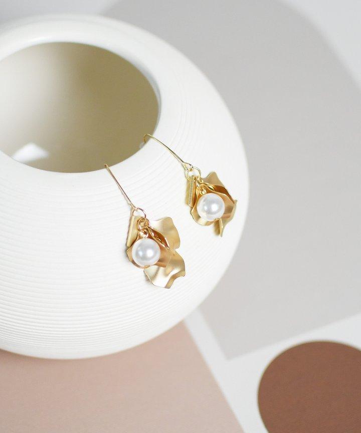 Chanterelle Petal Pearl Earrings