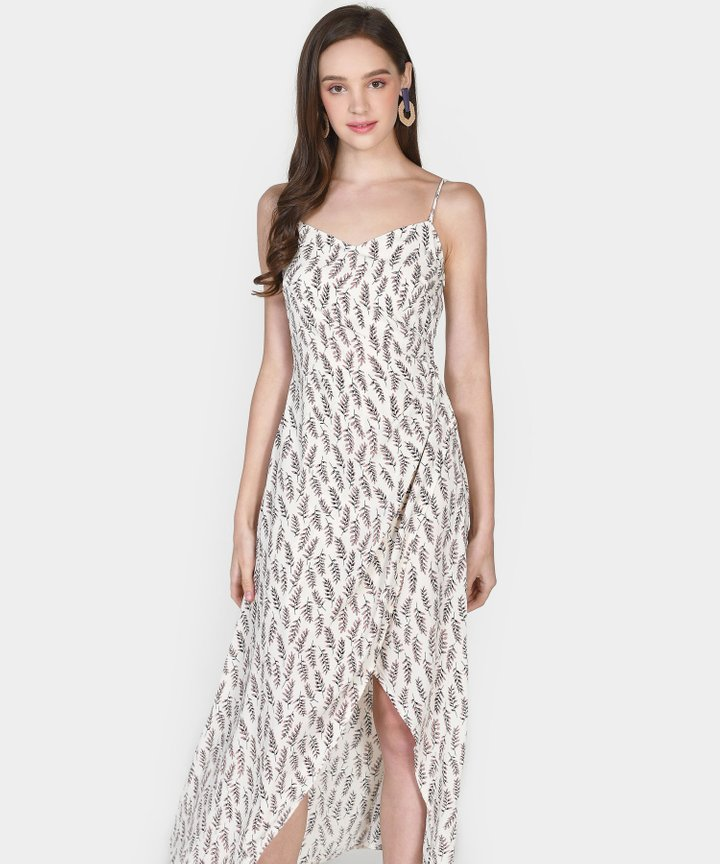 Diana Ruched Floral Maxi Dress - White