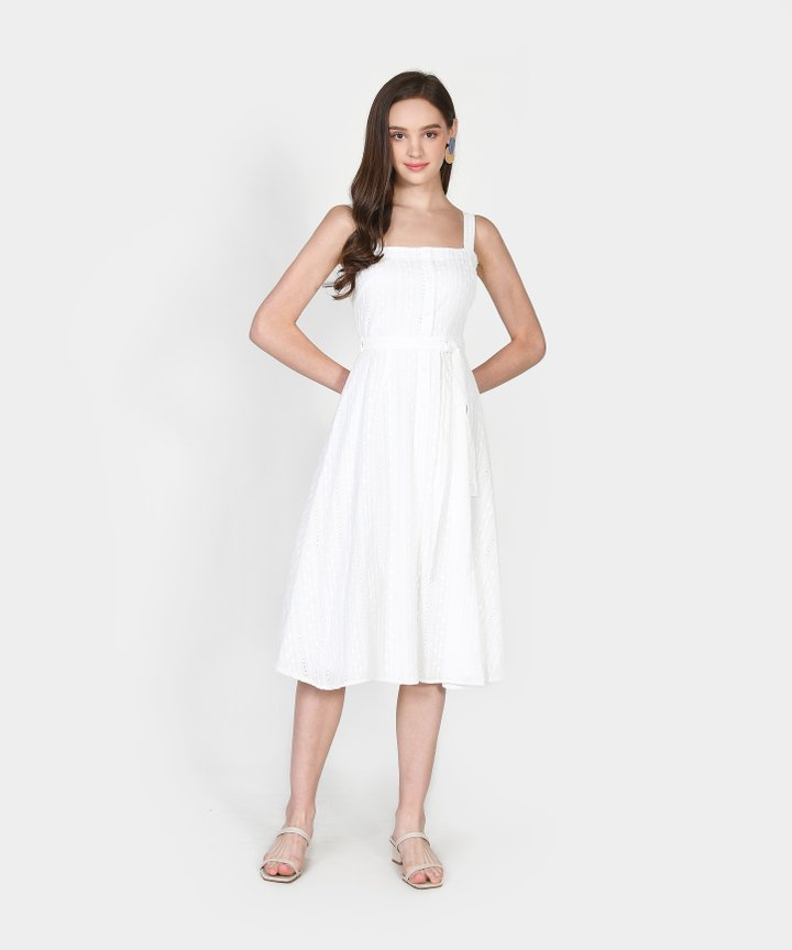 Trina Embroidered Midi Dress - White