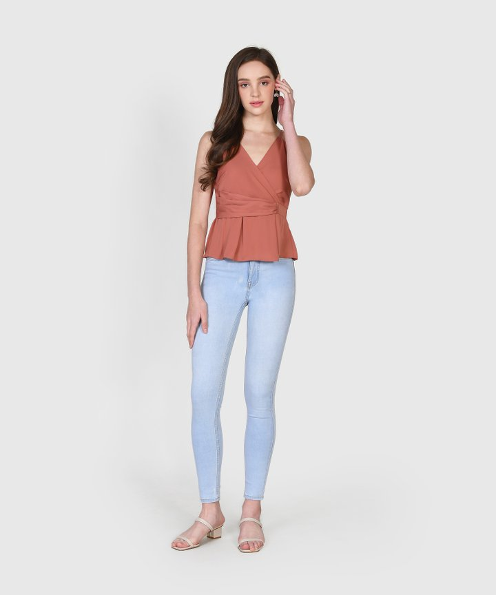 Zenith Wrap Top - Coral Rose