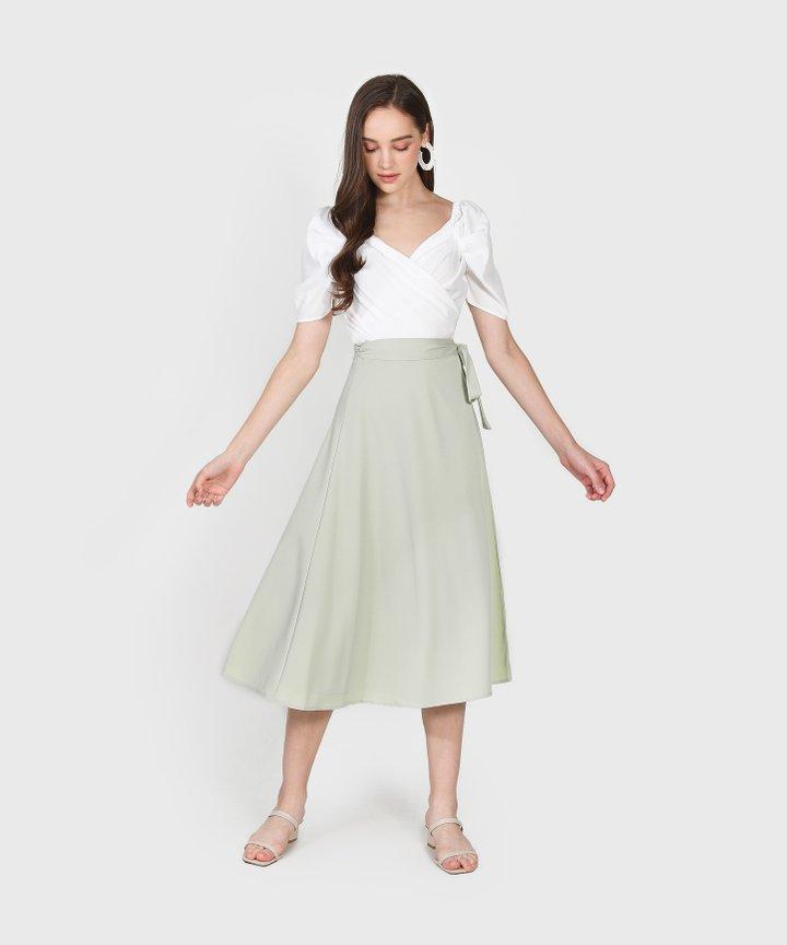 Arbery Midi Skirt - Pale Sage Size M, L, XL (Instock)