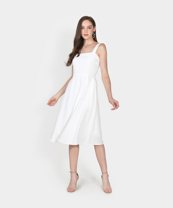 Axel Square Midi Dress - White