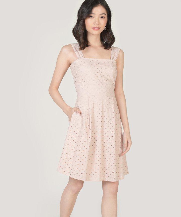 Edith Eyelet Dress - Nude Pink