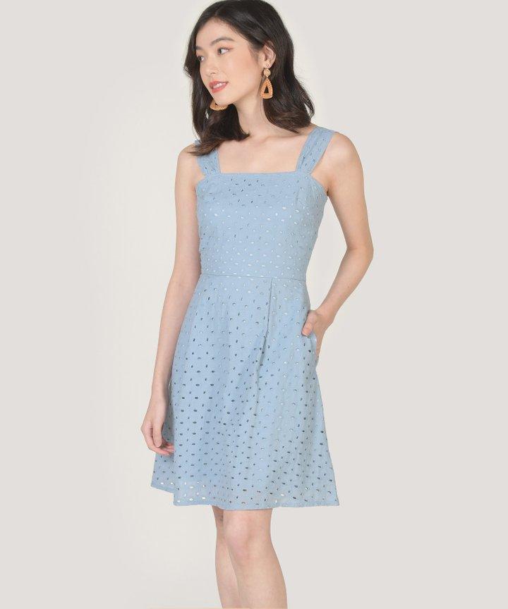 Edith Eyelet Dress - Sky Blue
