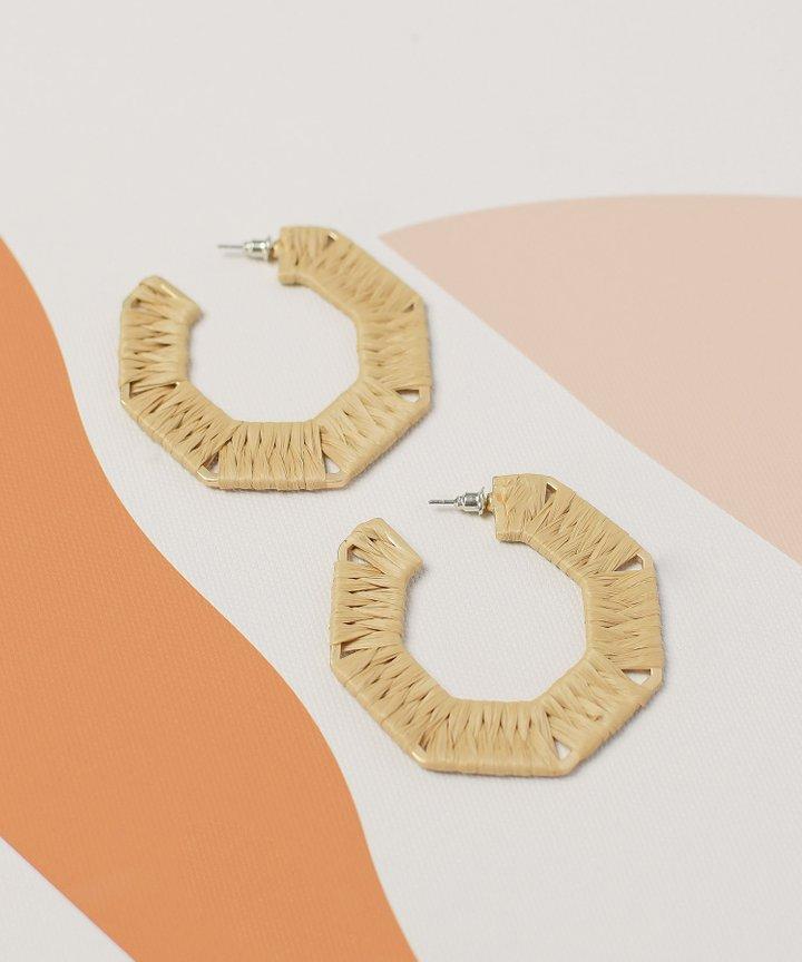 Piccolo Woven Hoop Earrings - Tan