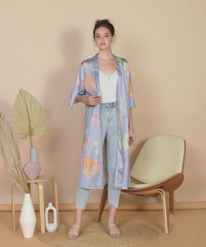 Bellflower Longline Kimono - Hydrangea Blue (Restock)