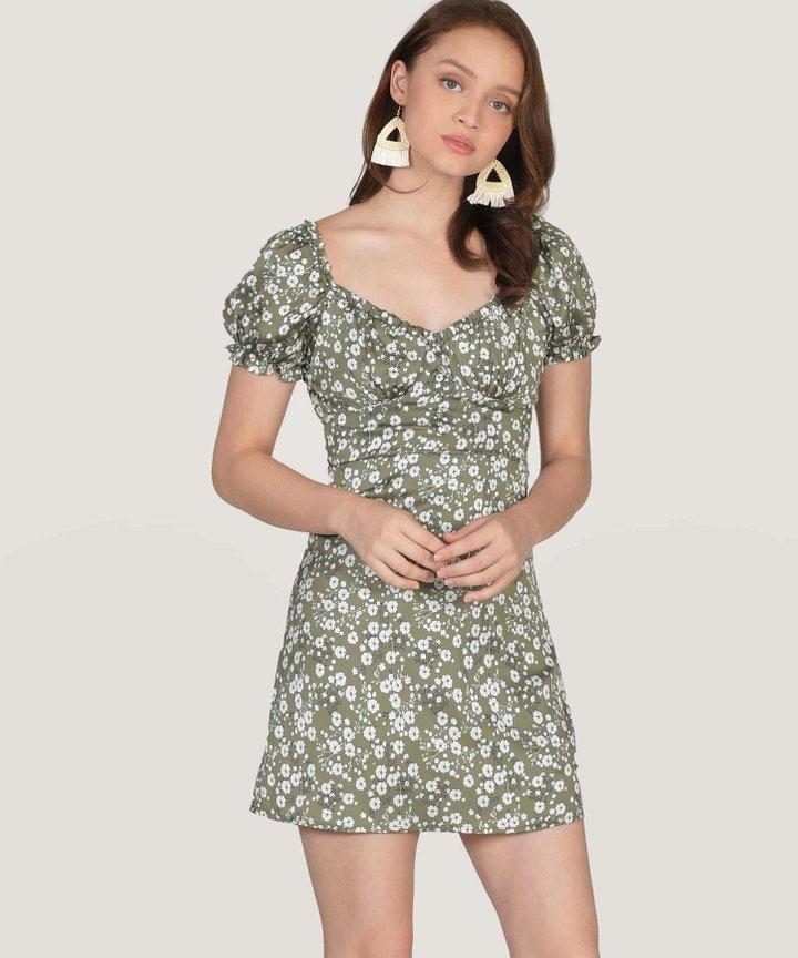 Dita Floral Ruched Mini Dress - Olive (Restock)