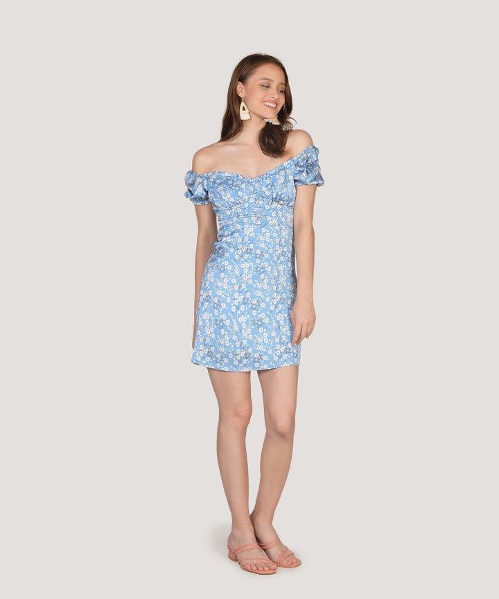 Dita Floral Ruched Mini Dress - Sky Blue (Restock)