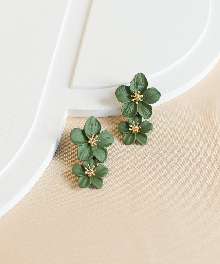Hialeah Floral Tiered Earrings - Forest Green (Restock)