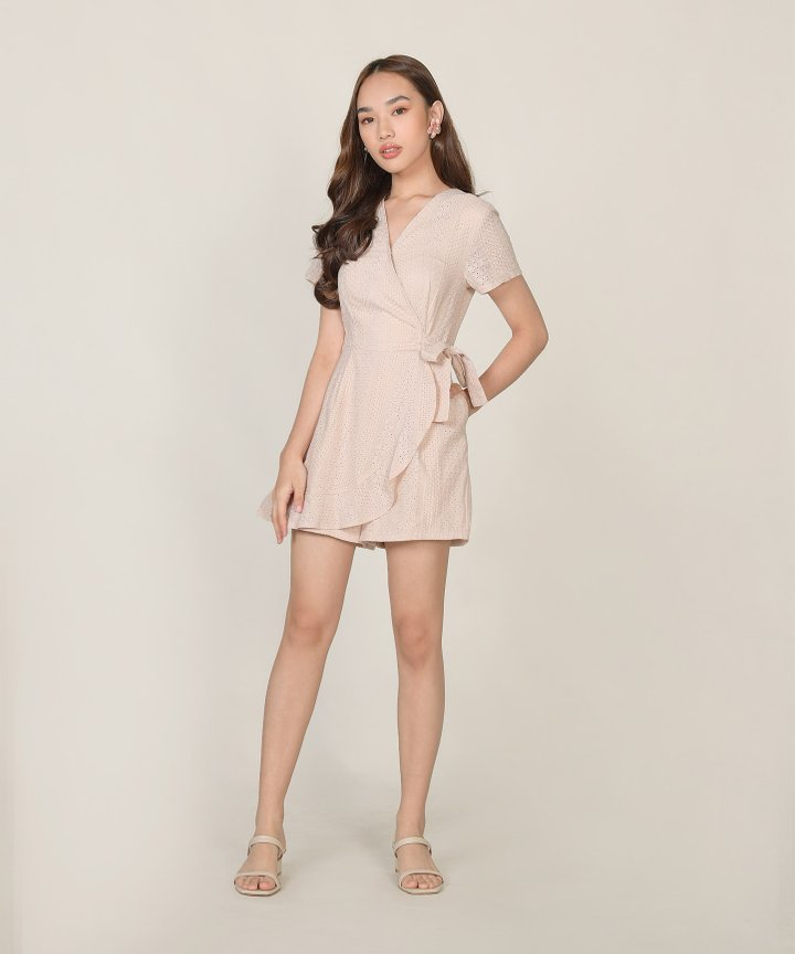 Calla Embroidered Overlay Playsuit - Pale Nude