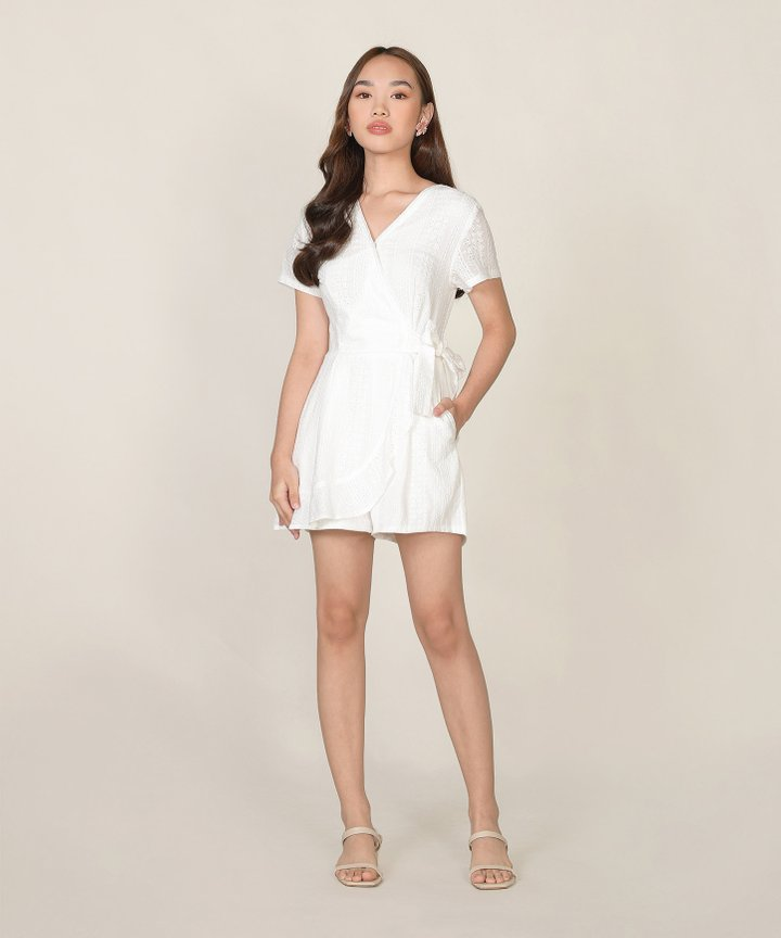 Calla Embroidered Overlay Playsuit - White