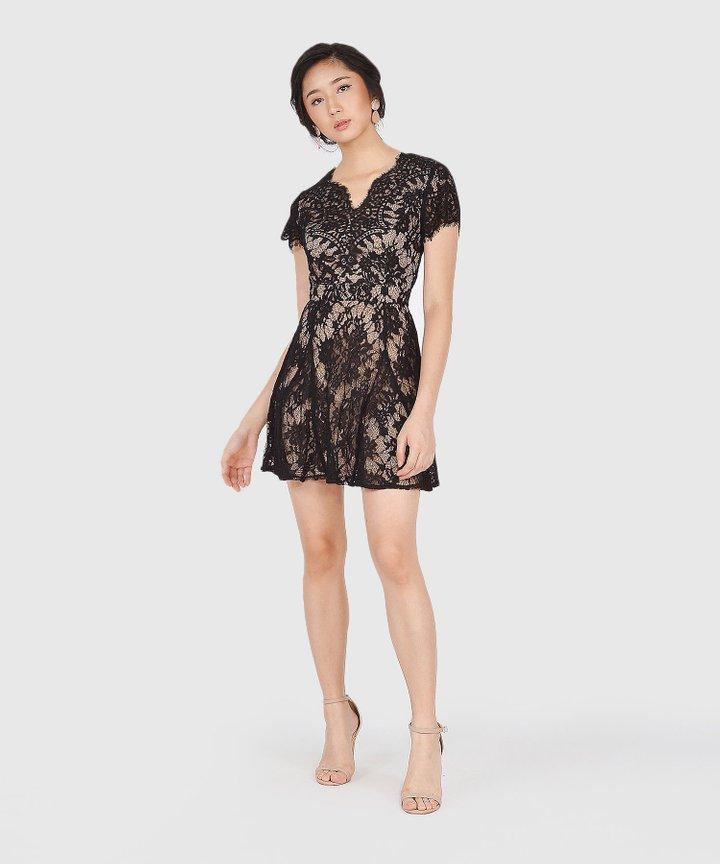 Chantilly Lace Dress - Black