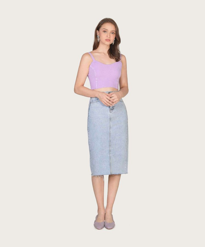 Cherie Knit Cropped Tank - Lilac