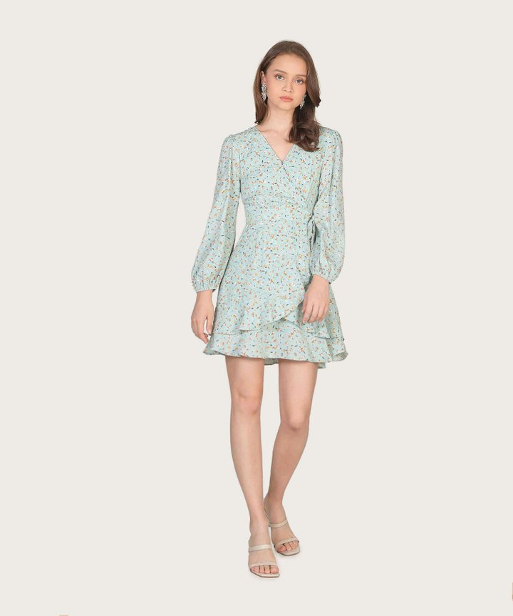 Claudina Floral Overlay Dress - Pale Turquoise