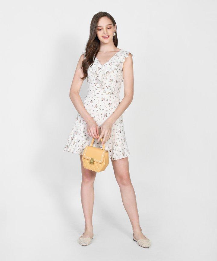 Freja Floral Ruffle Dress - Cream