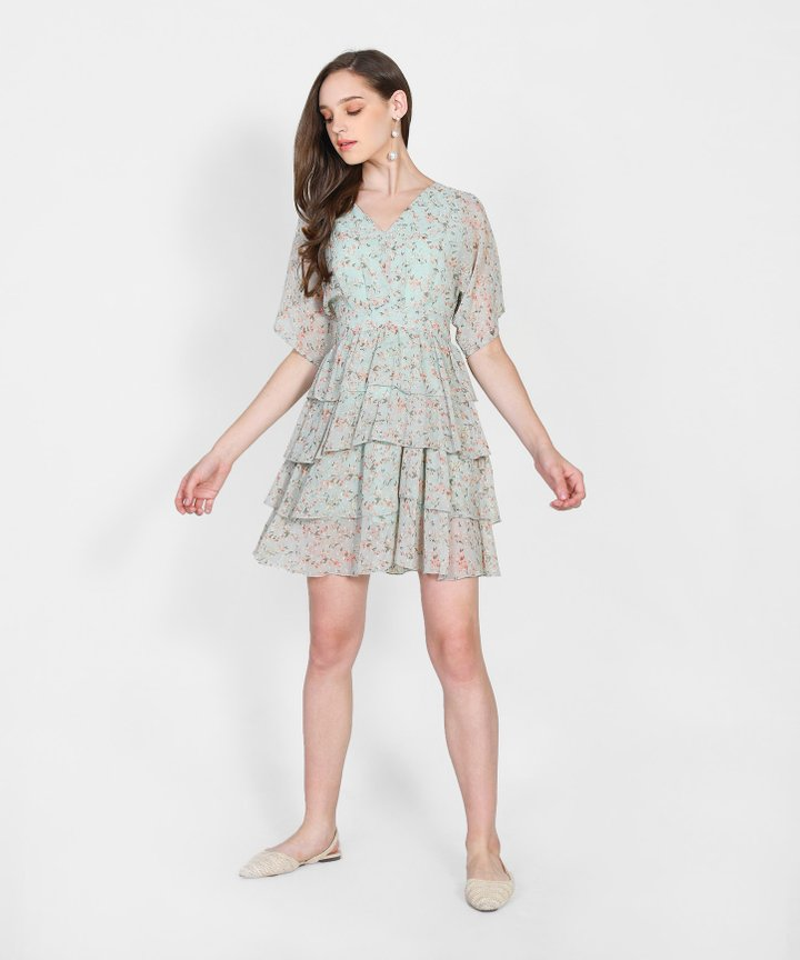 Raquel Floral Tiered Mini Dress - Pale Mint