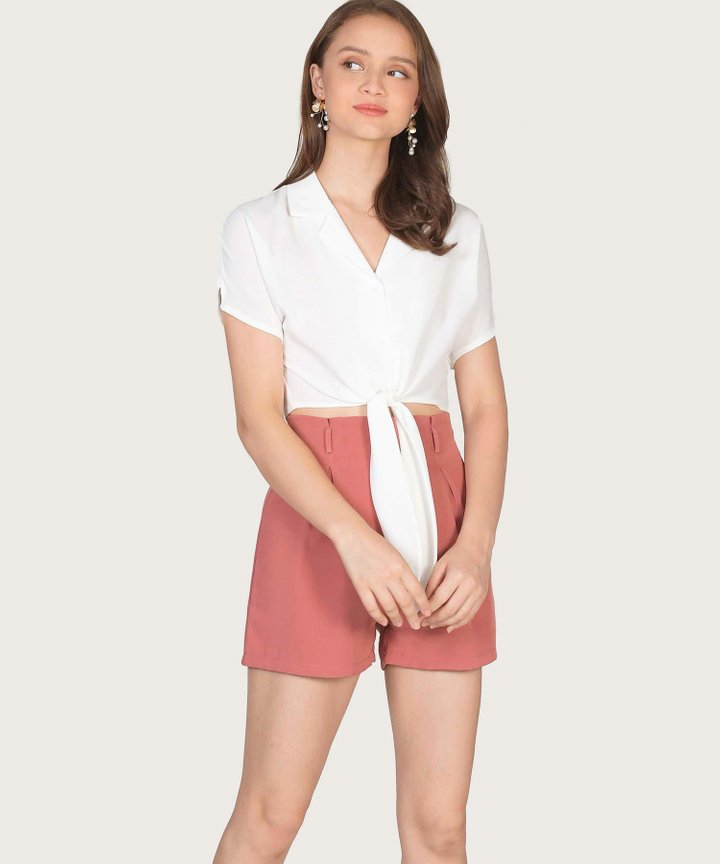 Riley Knot Blouse - White