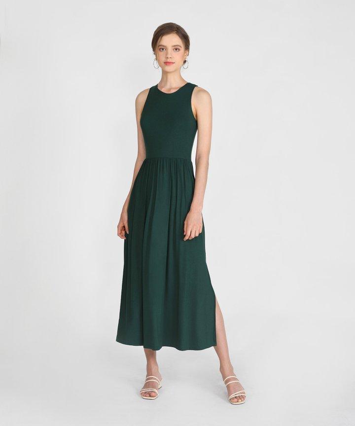 Winnie Cotton Maxi Dress - Forest Green