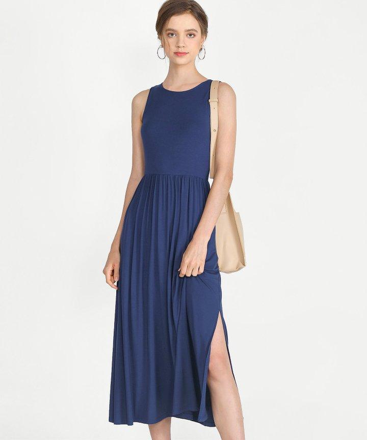 Winnie Cotton Maxi Dress - Navy