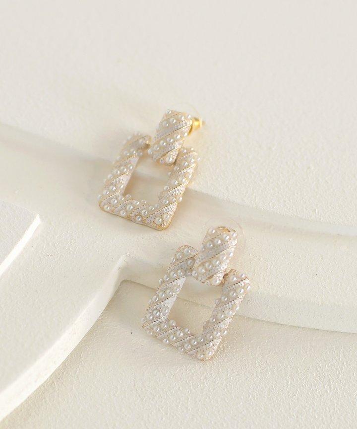 Astley Square Pearl Earrings
