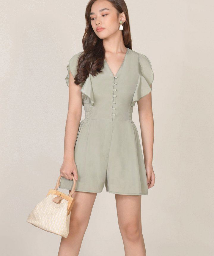 Blanche Ruffle Playsuit - Sage