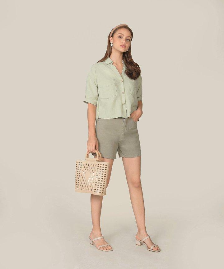 Carmel Denim Shorts - Laurel Green