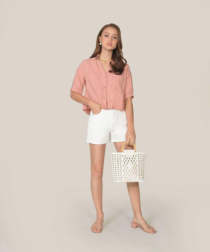 Carmel Denim Shorts - White