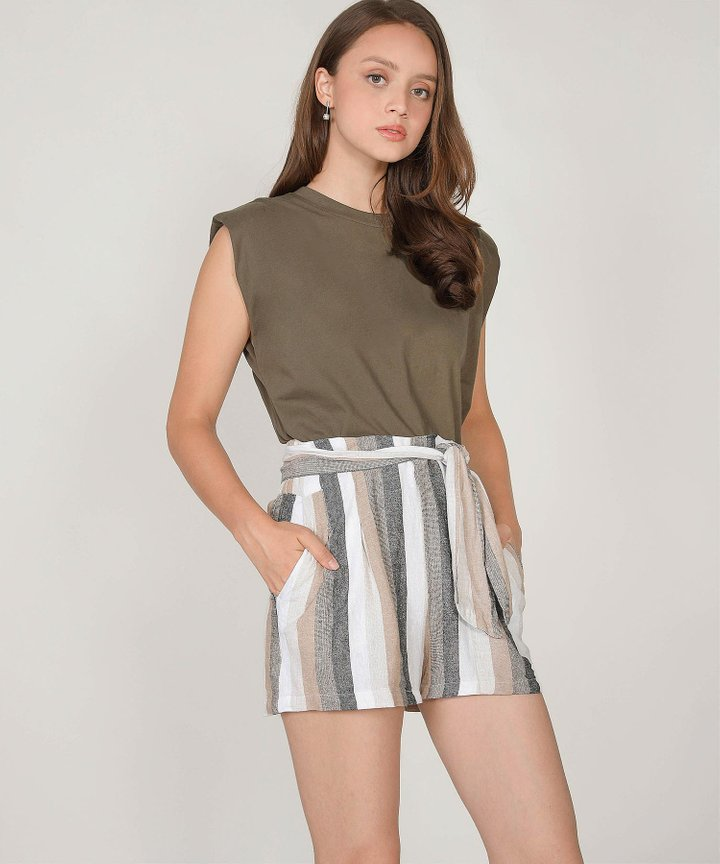 Isaias Padded Muscle Tee - Olive Green