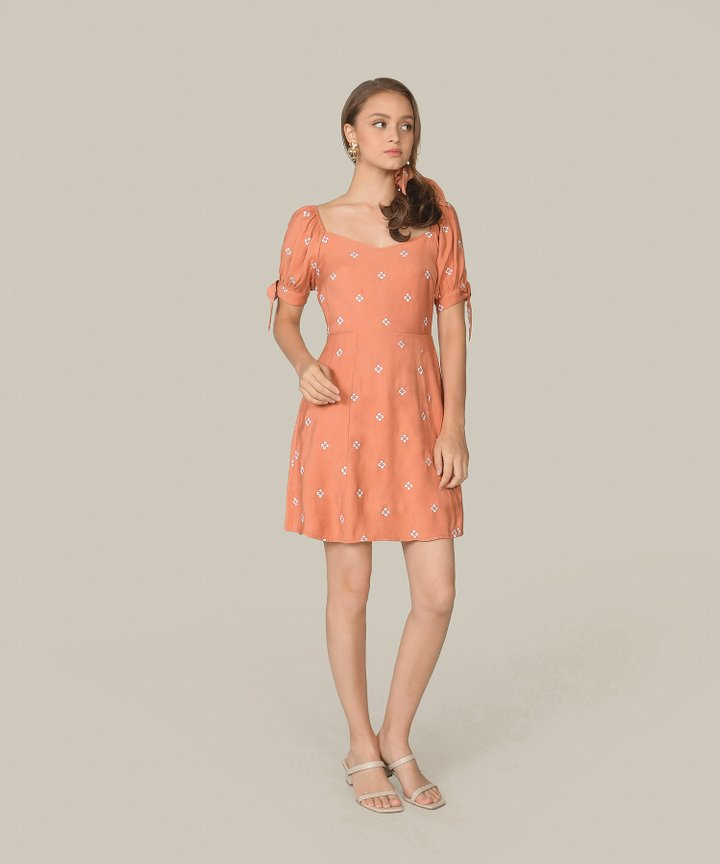 Memento Embroidered Dress - Coral Pink