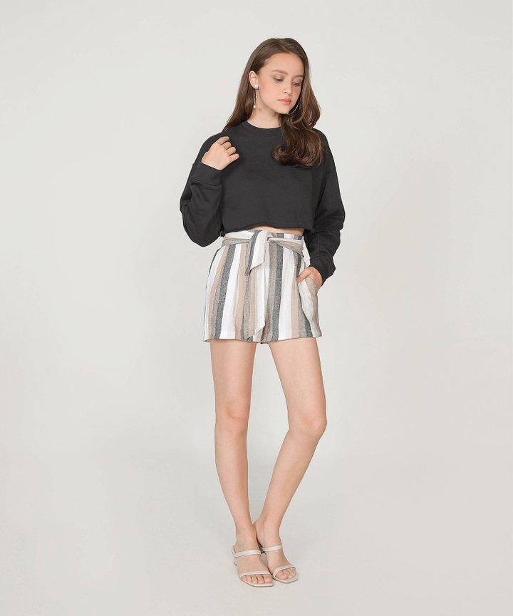 Musings Cropped Raw Hem Sweater - Licorice