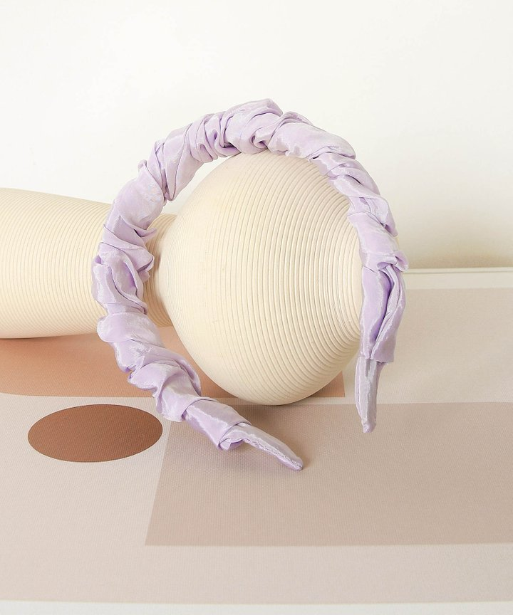 Rochas Satin Ruched Hairband - Pale Lavender