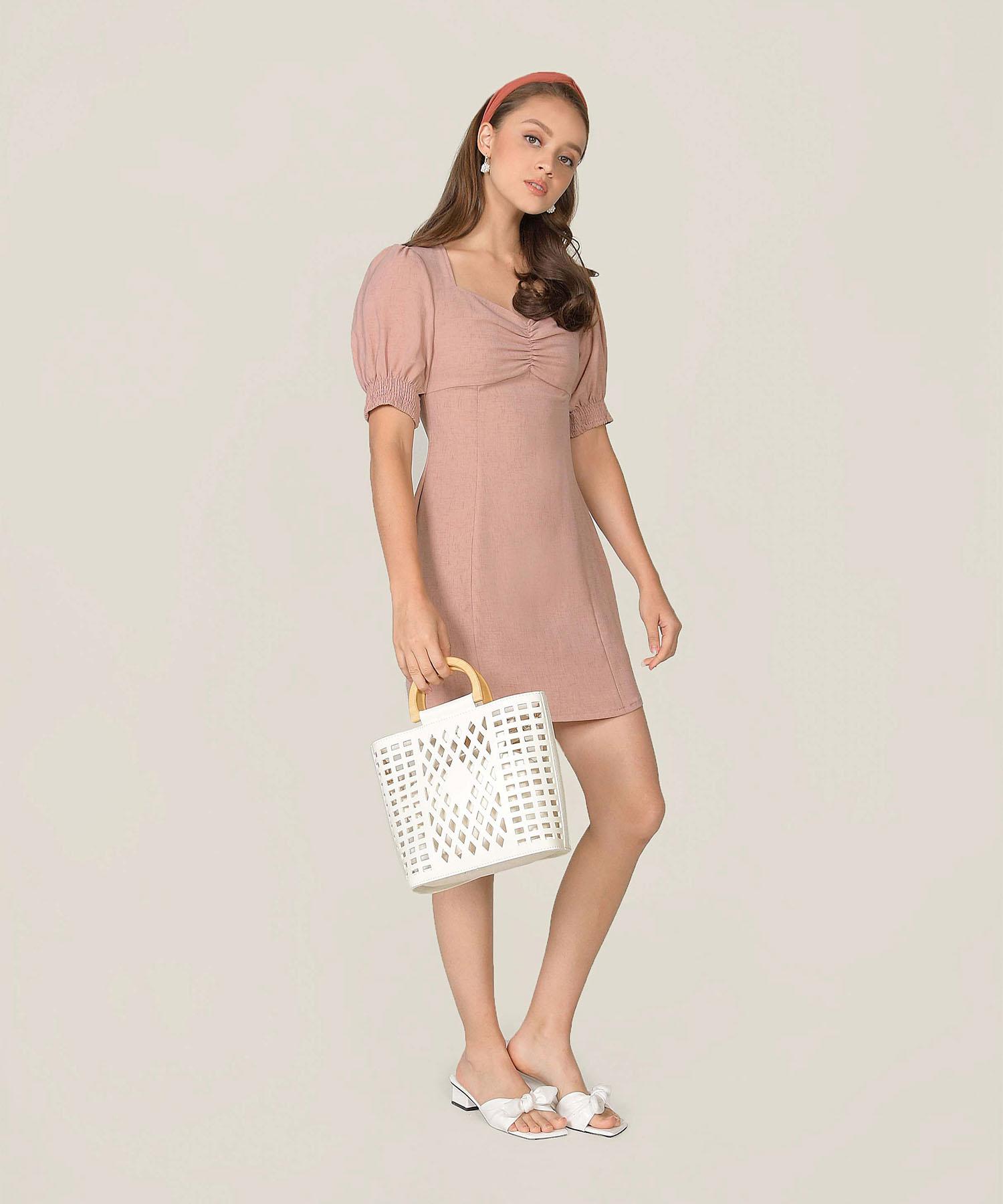michele-ruched-dress-blush-pink-1