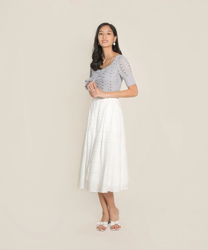 Allude Eyelet Cropped Top - Dust Lavender
