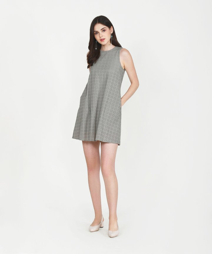 Basque Eyelet Shift Dress - Stone Grey