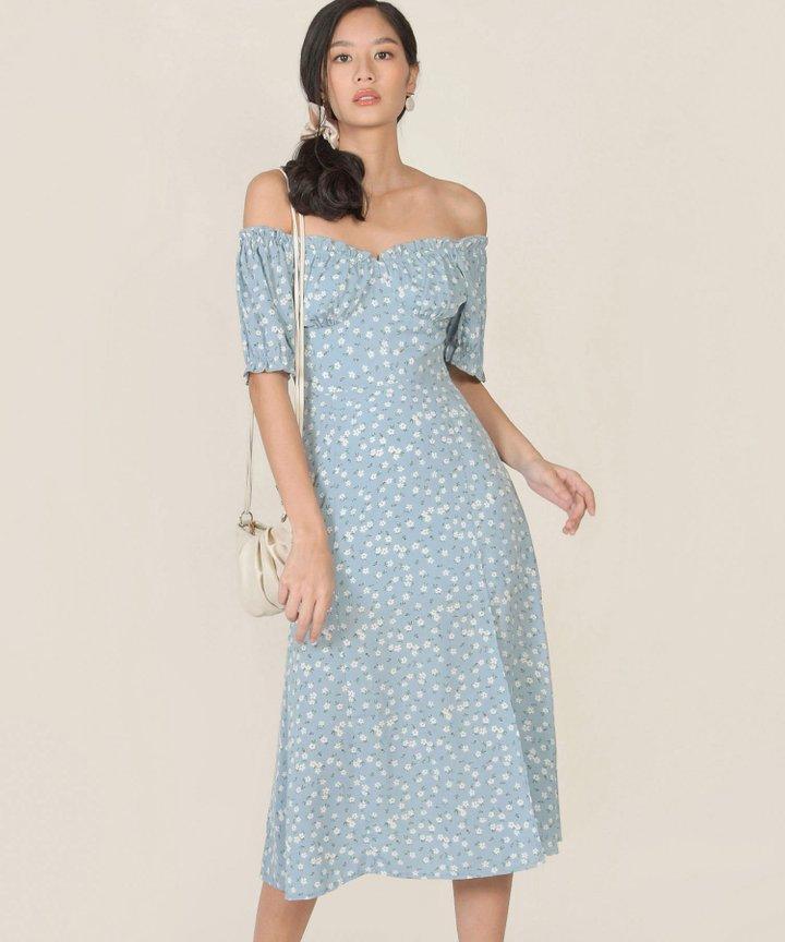 Bijou Floral Midi Dress - Pale Blue (Backorder)