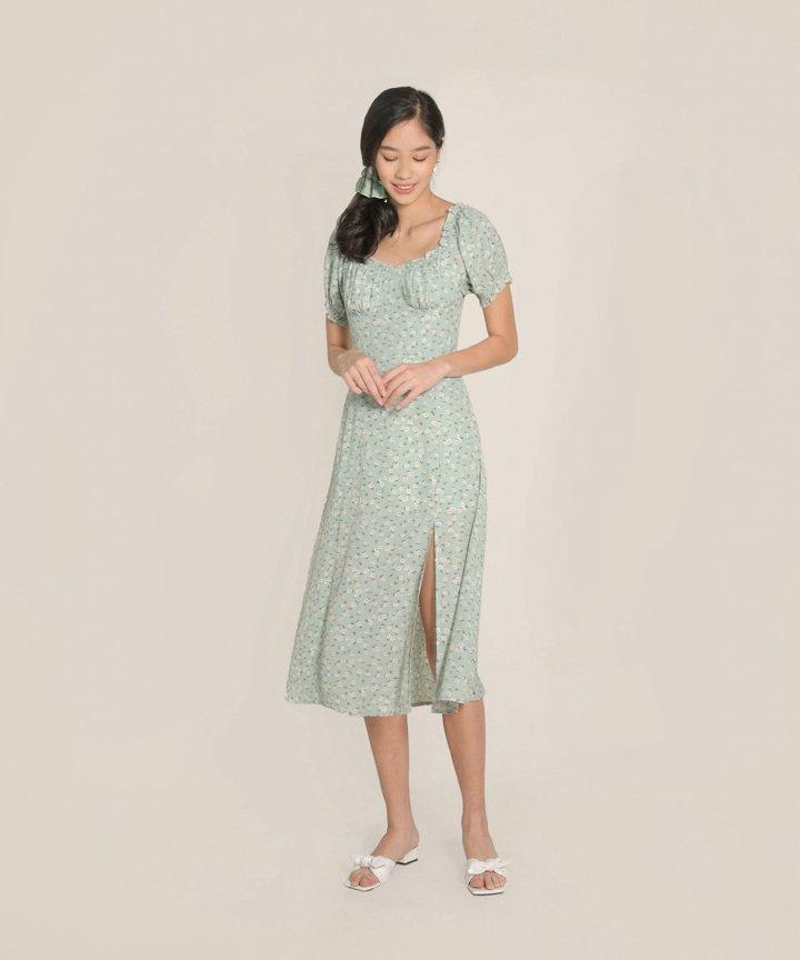 Bijou Floral Midi Dress - Pale Seafoam (Backorder)