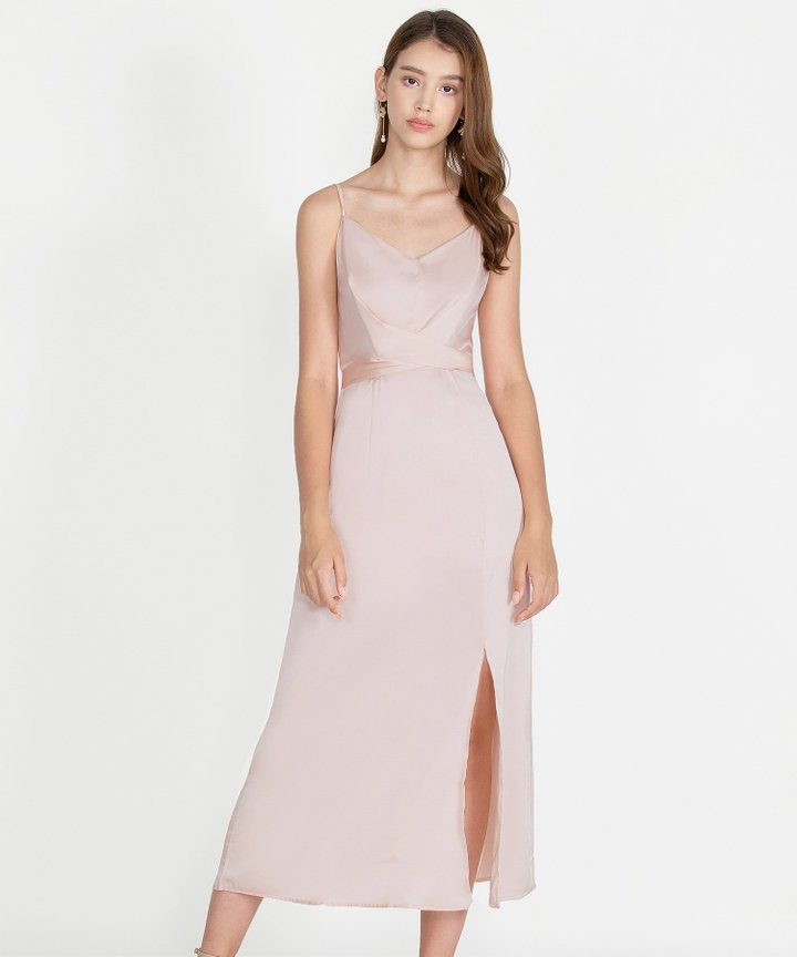 Champagne Satin Maxi Dress - Pink Champagne